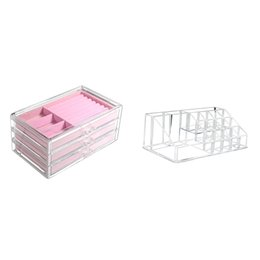 clear makeup drawers cosmetics UK - Acrylic Clear Makeup Organizer Storage Boxes Make Up Organizer for Cosmetics Jewelry Storage Cabinet Box Home Drawers