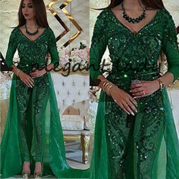 Wholesale lace long sleeve deep v jumpsuit resale online – Green Lace Sequins Jumpsuit Prom Gown with Train Sparkly Long Sleeve V neck Custom Arabic Dubai Occasion Evening Jumpsuit Wear Gown