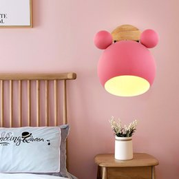 wooden kitchen knobs Australia - Creative Wooden Wall Lights Nordic LED E27 5 Color Wall Lamp Children Reading Bedroom Bedside Lighting
