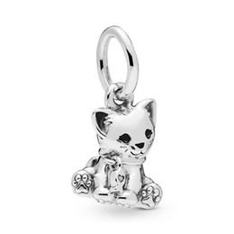 925 cat pendant online shopping - NEW Sterling Silver Lovely Sweet Cat Dangle Charm Pendant Fit European DIY Bracelet Fashion Girl Jewelry Gift EN16