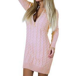 $enCountryForm.capitalKeyWord Australia - Mini Fashion Zip-up Zipper 2018 Autumn Winter Sweater Dress Sexy V Neck Dresses Warm Bodycon Women Dress New
