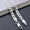 Silver Chains Free Shipping Australia - High quality Fashion Men's Jewelry Sideways 925 sterling silver plated 4MM 16-24inches chain necklace Free Shipping