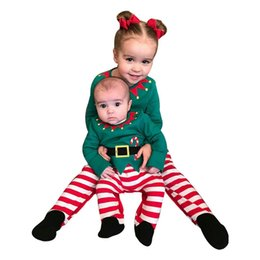 Wholesale Christmas baby set outfits baby boy clothes baby girl clothes romper stripe trousers hats sets infant clothes A7077