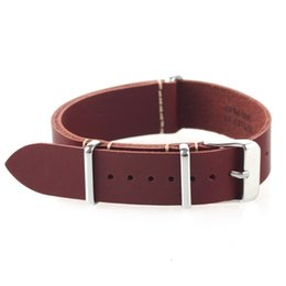 Military watches bracelet online shopping - strap leather EACHE High Quality Vintage Genuine Leather Nato watch Straps Watchband for Military Watch mm mm wholesales