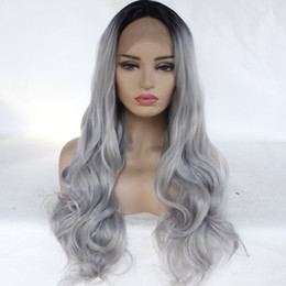 $enCountryForm.capitalKeyWord Australia - Front Lace T Color Black Gray Gradual Change Wig Ma'am Dyeing In Long Curly Hair Will Wave Volume Chemical Fibre Wig Set