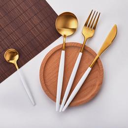 $enCountryForm.capitalKeyWord Australia - Hot Sale 4 Pcs set White Gold European Knife Dinnerware 304 Stainless Steel Western Cutlery Set Kitchen Food Tableware Dinner