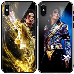 Michael Glasses Australia - Michael Jackson Top the King phone Case Tempered glass phone Cover MJ For iPhone 6s 7 plus 8 + Xr XS Max