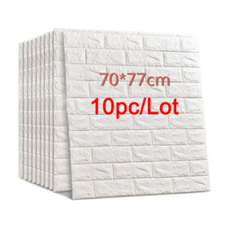 Wholesale 70*77 3D Brick Wall Stickers DIY Self Adhensive Decor Foam Waterproof Wall Covering Wallpaper For TV Background Kids Living Room