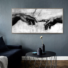 $enCountryForm.capitalKeyWord NZ - Large Black & White Canvas Art Print Home Decoration Wall Art Canvas Painting, Hand of God Creation of Adam Oil Painting on Canavs