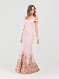 $enCountryForm.capitalKeyWord UK - Fantastic Pink Mermaid Evening Dresses With Sleeves 2019 Off-the-shoulder Hollow Back Gold Bead Lace Appliques Evening Gowns Long Prom Dress