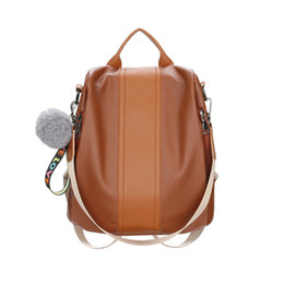 $enCountryForm.capitalKeyWord UK - Backpack Women Pu Leather Female Backpacks LOVE women's fashion hair ball decorative letter zipper backpack brown H30523