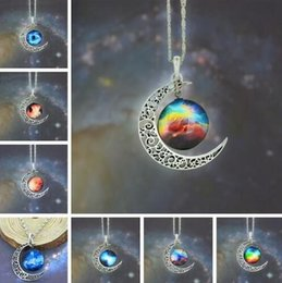 Outer Space Pendant Australia - New Vintage Starry Moon Outer Space Universe Gemstone Pendant Necklaces Mix Models Link Chain Fashion Jewelry Party Gift Friendship
