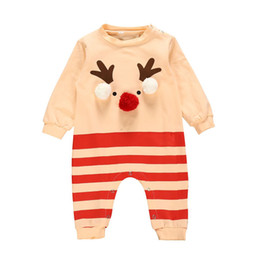 christmas rompers Australia - 3D Christmas Jumpsuit fashion design Cartoon reindeer Moose print striped rompers baby kids spring Autumn clothing LA134