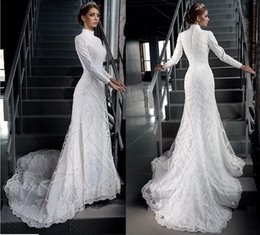 Luxurious musLim wedding gowns online shopping - Luxurious High Neck Mermaid Lace Applique Major Beading Long Sleeves Sweep Train Wedding Dresses Pleats Custom Made Bridal Wedding Gowns