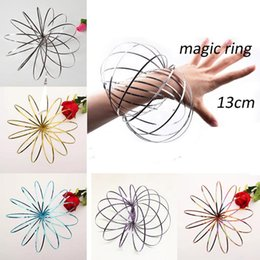 steel springs Australia - Toroflux Flow Rings 5 INCH Stainless Steel Kinetic Spring Metal SUS 304 Toroflux Magic Flow Ring magic bracelet Interactive Toys For Kids