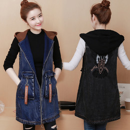 black denim waistcoat UK - 2020 New Top quality Spring Autumn Women vest plus size embroidered denim Female jacket.Fashion hooded long Sleeveless Waistcoat