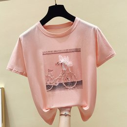 white pink shirt Australia - Sequined 3D Printed Women's T-shirt Tops White Pink Short Sleeve Female Summer Tshirts 2020 Casual Fashion Ladies Loose t shirts CX200620