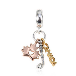 $enCountryForm.capitalKeyWord UK - NEW Authentic 925 Sterling Silver Charm Hockey Stick Maple Leaf And The Word Canada Pendant Beads Fit Pandora Bracelet Bangle Diy Jewelry
