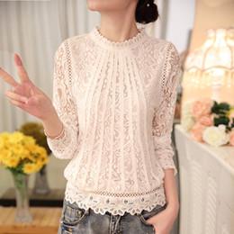d552f06d2d2f7d 2019 New autumn Ladies White Blusas Women s Long Sleeve Chiffon Lace  Crochet Tops Blouses Women Clothing Feminine Blouse 51C