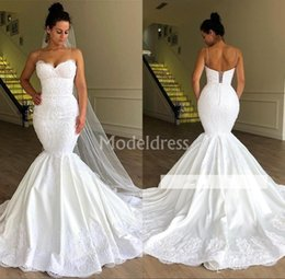 Country models online shopping - African Lace Mermaid Wedding Dresses Spaghetti Strap Appliques Sweep Train Chic Country Style Chapel Birdal Gowns Charming Vestidoe De Noiva