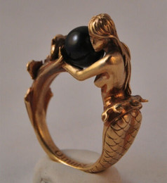 $enCountryForm.capitalKeyWord NZ - Adorable Women's Girls' 18K Solid Gold Ring Black Pearl Guard By Mermaid Wealth Happiness Health Fashion Jewelry Birthday Anniversary Gift