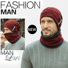 Ski baSeball capS online shopping - Free DHL sets Fashion Scarf Cap Winter Warm Hats Men Cashmere Letter Knitted Caps Collar Pure Color Beanies Christmas Gift M642F