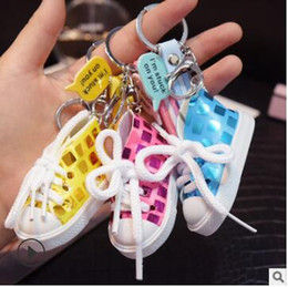 $enCountryForm.capitalKeyWord NZ - Canvas casual shoes keychains mini shoes hang cute promotional gifts l love you letter rainbow PVC stripe keychains 583