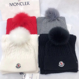 Discount wool camouflage hats New Winter Women's Velvet Wool Hats Twist color matching Beanies Bobble Hat Female Knitted Hats Sets with box bag
