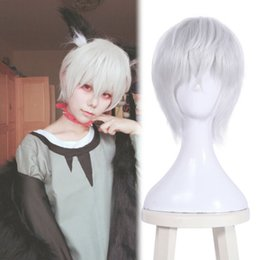 wig short white Australia - Mr.Hard core Aohitsugi Samatoki Men Anime Short White Straight Cosplay Wig Hair