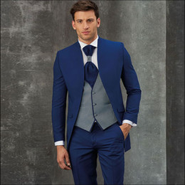 custom collars for men NZ - Fashion Royal Blue Mens Prom Suits Stand Collar Wedding Suits For Men Tuxedos Three Pieces Blazers Jacket + Pants + Vest