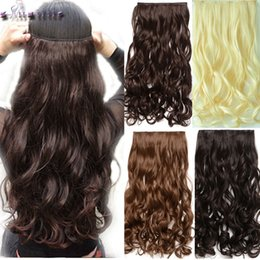 Clip Bangs Black Hair Australia - 28 Inches Curly Long Synthetic 3 4full Head Clip In Hair Extensions Black Brown Blonde Auburn Hair Extension One Piece