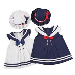 Wholesale Chinese Hat Australia - INS Design Baby Little Girls Navy Dresses A-line Cotton Sailor Sleeveless Front Tie Turn-down Collar Girls Dresses with Hat 2pcs Set 1-3T
