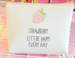 China Wallet Leather Australia - leather coin wallet wallet for women and children cute strawberry bird Mini zipper money change key holder children's bags gift