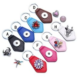 Hexagon Keys Australia - Hexagon PU Leather Snap Button Key Rings chain Snap Keychains fit DIY 18MM Snap Kendra Jewelry