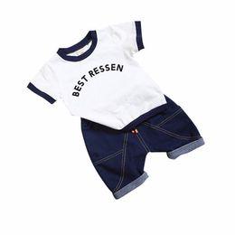 Boy Chinese Suit Australia - 2019 New Hot 2PCS Suit Summer Children Boys Girls Clothes Sets Kids Cotton Letter Short Sleeves T-Shirt Toddler Child Clothing