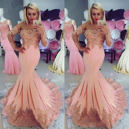 chocolate peaches Australia - Elegant Peach Mermaid Prom Dresses with Capped Long Sleeves Lace Appliques Beading See Through Neck Formal Wear Evening Dress