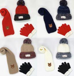 BaBy girl knitting Beret hat online shopping - Kids Designer Hat Scarf Gloves Set Boys Girl Winter Warm Knit Pom Ball Beanies Cap Baby Knitted skull Caps colors GGA2743