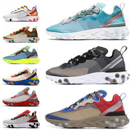elastic cream NZ - Breathable React Element 87 55 Shoes for men women Undercover Running Shoes Sail Light Bone Royal Tint Star Reacts Trainers Sports Sneakers