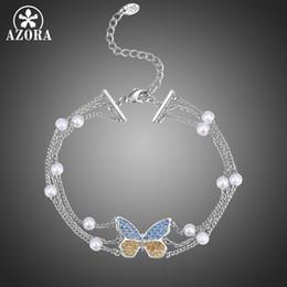 $enCountryForm.capitalKeyWord Australia - AZORA Bracelet Champagne and Blue Cubic Zirconia Butterfly Wrist Chain Charm Valentine's Day Gift for Women Wedding Party TS0204