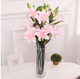 Fake Lilies Flowers Australia - 2019 2 Heads3 Heads Large Artificial Lily Branches for New House Family Wedding Festival Decoration Fake Silk Flores