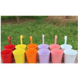 $enCountryForm.capitalKeyWord Australia - Detachable Colorful Hanging Flower Pot Hook Wall Pots Iron Flower Holder Balcony Garden Planter Home Decor Plant Pots Garden metal bucket Su