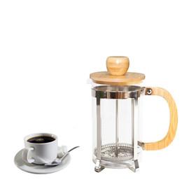 Cafetera de acero inoxidable con tapa de bambú y mango Prensa francesa Teteras de vidrio portátiles Filtro de té nuevo GGA2630 en venta