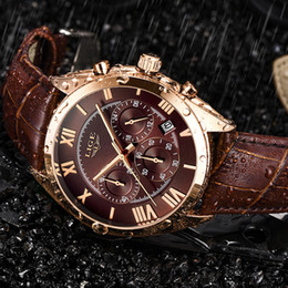 $enCountryForm.capitalKeyWord Australia - wholesale Watch For Men Top Brand Luxury Waterproof 24 Hour Date Quartz Clock Brown Leather Sports WristWatch Relogio Masculino