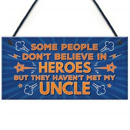 $enCountryForm.capitalKeyWord NZ - Uncle Is My Hero Novelty Birthday Christmas Hanging Plaque Thank You Gift Uncle Keepsake