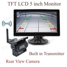 Discount wireless cameras 2.5 inch TFT LCD Wireless 5 inch Monitor for Car Rear View Camera Parking KIT sale 2CH Video Input Built in Transmitter 2 24V Tru