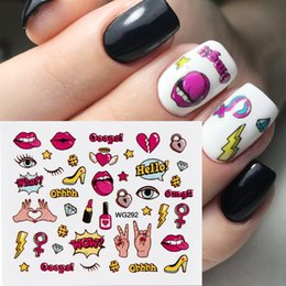 Wholesale cat images resale online - Full Beauty Colorful Water Transfer Nail Sticker Sliders Lovely Cat Cake Rainbow Image Nail Art Decorations Decals CHWG