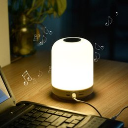 bluetooth lamp switch UK - Music small table lamp smart touch third gear dimming colorful bluetooth audio table lamp wireless home bedroom night light 1 pc