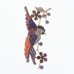 Flower Brooch Black Gold UK - 4 inch Swallow Bird Flower Brooch Pin Gold Tone Rhinestone Crystal Purple and Orange Enamel Brooches Animal Jewelry Pins