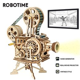 fruit toy puzzles Australia - Robotime Hand Crank Projector Classic Film Vitascope 3D Wooden Puzzle Model Building Block Toys for Children Adult LK601 Y200413