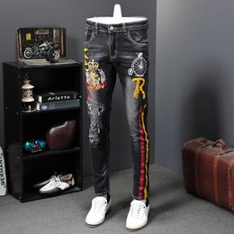 male jean styles Canada - Autumn Men Elastic Long Trousers Fashion Print Male Colored Drawing Painted Slim Denim Pants Designer Printing Jeans